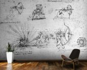 Study with Shields for Foot Soldiers and an Exploding Bomb, c.1485-88 (pen and ink on paper) wallpaper mural kitchen preview