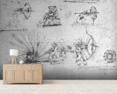 Study with Shields for Foot Soldiers and an Exploding Bomb, c.1485-88 (pen and ink on paper) wallpaper mural living room preview