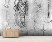 Studies (pen and ink on paper) mural wallpaper living room preview