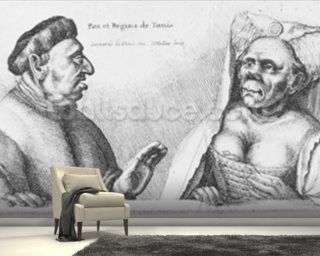 Rex et Regina de Tunis (chalk on paper) wallpaper mural