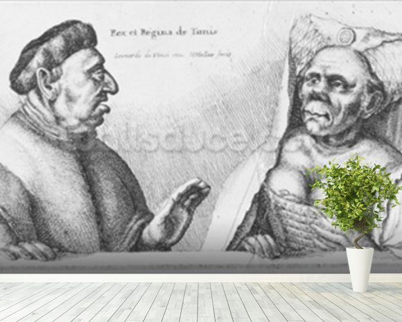 Rex et Regina de Tunis (chalk on paper) wallpaper mural room setting