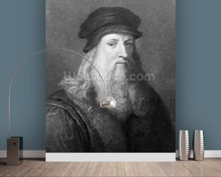 Leonardo da Vinci, engraved by Raphael Morghen, 1817 (engraving) (b/w photo) wallpaper mural