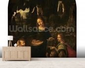 Madonna of the Rocks, c.1478 (oil on panel transferred to canvas) (also see 2038) wallpaper mural living room preview