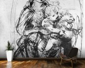 Study for a Madonna with a Cat, c.1478-80 (pen & ink over stylus underdrawing on paper) wall mural kitchen preview
