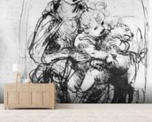 Study for a Madonna with a Cat, c.1478-80 (pen & ink over stylus underdrawing on paper) wall mural living room preview