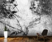Study of a nutcracker man and beautiful youth, c.1500 (chalk on paper) wallpaper mural kitchen preview