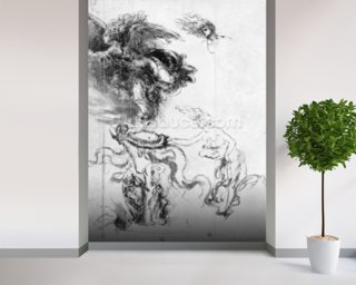 Silhouette of an Angel (pen and ink on paper) mural wallpaper