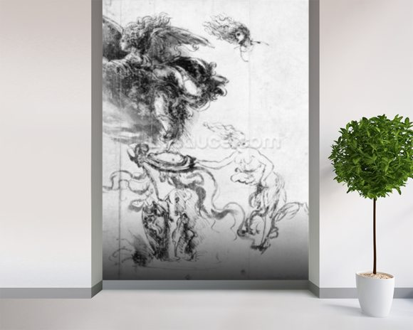 Silhouette of an Angel (pen and ink on paper) mural wallpaper room setting