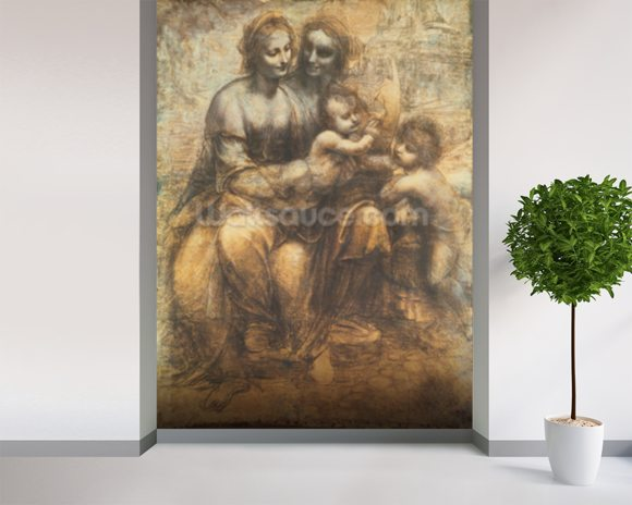 The Virgin and Child with Saint Anne, and the Infant Saint John the Baptist, c.1499-1500 (charcoal heightened with white chalk on paper, mounted on canvas) wall mural room setting