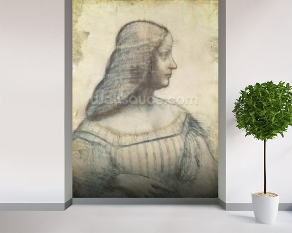 Portrait of Isabella dEste (1474-1539) (red chalk & pierre noire on paper) mural wallpaper room setting