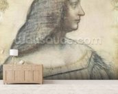 Portrait of Isabella dEste (1474-1539) (red chalk & pierre noire on paper) mural wallpaper living room preview