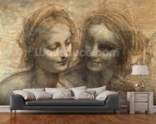 Detail of the Heads of the Virgin and St. Anne, from The Virgin and Child with SS. Anne and John the Baptist, c.1499 (charcoal and white chalk on paper, mounted on canvas) wall mural