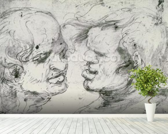 Two Heads (pen and ink on paper) wallpaper mural room setting