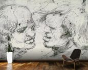 Two Heads (pen and ink on paper) wallpaper mural kitchen preview