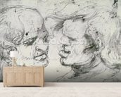 Two Heads (pen and ink on paper) wallpaper mural living room preview