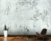 Study of figures for The Adoration of the Magi (pen and ink on paper) mural wallpaper kitchen preview