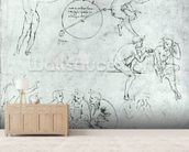 Study of figures for The Adoration of the Magi (pen and ink on paper) mural wallpaper living room preview