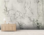 Six Figures, Study for an Epiphany (pen and ink on paper) wall mural living room preview