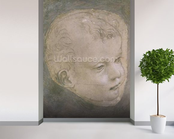 Head of a Child (pencil on paper) mural wallpaper room setting