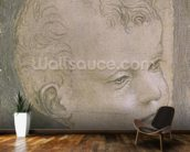 Head of a Child (pencil on paper) mural wallpaper kitchen preview