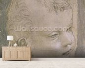 Head of a Child (pencil on paper) mural wallpaper living room preview
