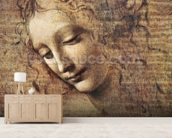 Head of a Young Woman with Tousled Hair or, Leda (gouache on wood) wall mural living room preview