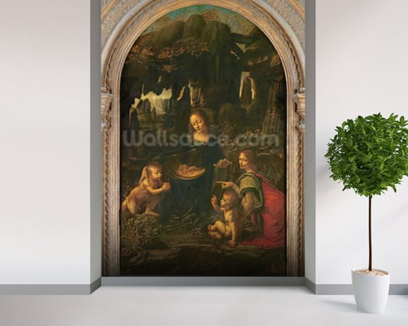 Madonna of the Rocks, c.1478 (oil on panel transferred to canvas) wallpaper mural room setting