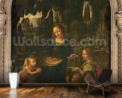 Madonna of the Rocks, c.1478 (oil on panel transferred to canvas) wallpaper mural kitchen preview