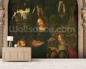 Madonna of the Rocks, c.1478 (oil on panel transferred to canvas) wallpaper mural living room preview
