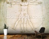 The Proportions of the human figure (after Vitruvius), c.1492 (pen & ink on paper) mural wallpaper kitchen preview