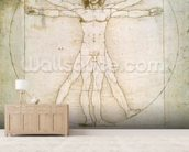 The Proportions of the human figure (after Vitruvius), c.1492 (pen & ink on paper) mural wallpaper living room preview