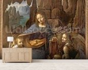 The Virgin of the Rocks (with the Infant St. John adoring the Infant Christ accompanied by an Angel), c.1508 (oil on panel) wall mural living room preview