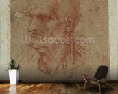 Head of a beardless old man, left profile (red chalk on paper) mural wallpaper kitchen preview