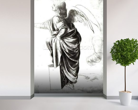 Study of an Angel (chalk on paper) (b/w photo) wallpaper mural room setting