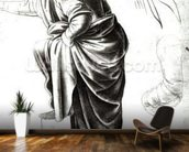 Study of an Angel (chalk on paper) (b/w photo) wallpaper mural kitchen preview
