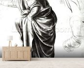 Study of an Angel (chalk on paper) (b/w photo) wallpaper mural living room preview