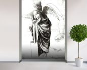 Study of an Angel (chalk on paper) (b/w photo) wallpaper mural in-room view