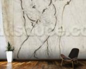 Study of St. Sebastian, 1480-81 (pen & ink over pencil on paper) mural wallpaper kitchen preview