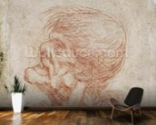 Caricature Head Study of an Old Man, c.1500-05 (red chalk on paper) wallpaper mural kitchen preview