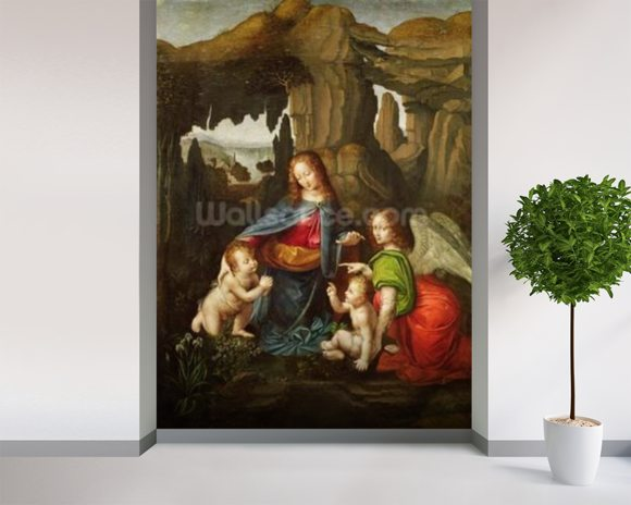 Madonna of the Rocks (oil on panel) wallpaper mural room setting