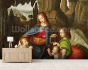 Madonna of the Rocks (oil on panel) wallpaper mural living room preview