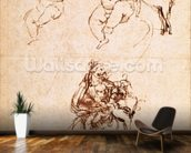 Studies for a Madonna with a Cat, c.1478-80 (pen and ink on paper) mural wallpaper kitchen preview