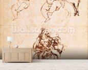 Studies for a Madonna with a Cat, c.1478-80 (pen and ink on paper) mural wallpaper living room preview