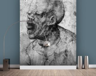 Portrait of a Man Shouting (charcoal on paper) (b/w photo) wall mural