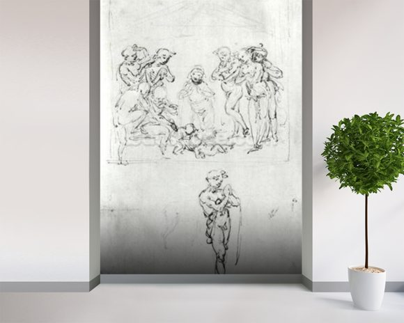 Figural Studies for the Adoration of the Magi, c.1481 (pen & ink and metalpoint on paper) wallpaper mural room setting