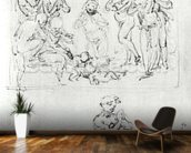 Figural Studies for the Adoration of the Magi, c.1481 (pen & ink and metalpoint on paper) wallpaper mural kitchen preview