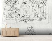 Figural Studies for the Adoration of the Magi, c.1481 (pen & ink and metalpoint on paper) wallpaper mural living room preview