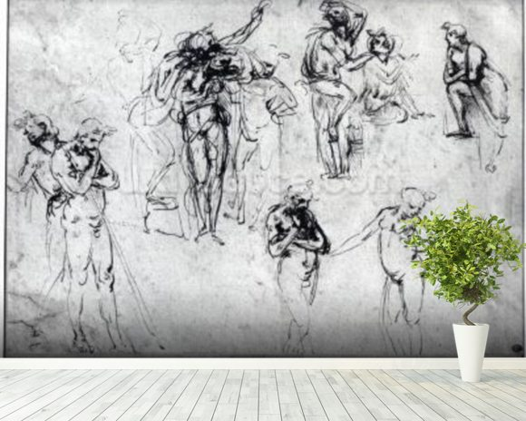 Study of nude men (pen and ink on paper) wall mural room setting