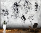 Study of nude men (pen and ink on paper) wall mural kitchen preview