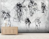 Study of nude men (pen and ink on paper) wall mural living room preview